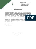 Carta Autorizacion Personal Servicios Green Power EIRL