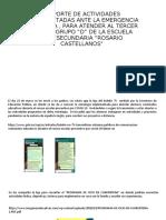 REPORTE DE ACTIVIDADES IMPLEMENTADAS ANTE LA EMERGENCIA SANITARIA