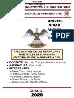 APLICACIONES DE LAS DERIVADAS E INTEGRALES DE FUNCIONES VECTORIALES EN LA INGENIERÍA CIVIL