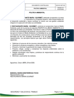 POLÍTICA AMBIENTAL - MANUELA MARIA-AUXILIAR DE SERVICIOS