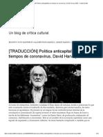 Política anticapitalista en tiempos de coronavirus, David Harvey, 2020