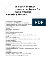 Basics of Stock Market For Beginners Lectures By CA Rachana Phadke Ranade topics ( Notes)