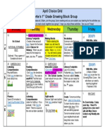 april elearning 1st grade choice grid