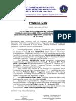 Pengumuman Kelulusan Uji Kesehatan Sipenmaru Prodi D-3 AK dan D-4 Kes.