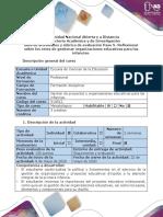 Guia de actividades y rúbrica de evaluación - Paso 5 - Reflexionar sobre los retos de gestionar organizaciones educativas para las infancias.