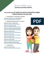 1. RECOPILACIÓN DE VIDEOS DE APOYO CATEQUÉTICO SOBRE TRIDUO PASCUAL EN CASA - DPI 2020