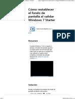 Cómo restablecer el fondo de pantalla al validar Windows 7 Starter