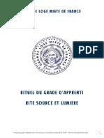 GLMF Rituel Rite Source et Lumière Apprenti