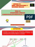 TEMA N° 01 ECUACIONES LINEALES, CUADRATICAS, EXPONENCIALES Y LOGARITMICAS.pdf