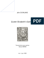 DOWLAND, John • Queen Elizabeth's Galliard (edited for guitar by Gérard REYNE) (guitar music score)