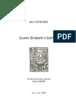 DOWLAND, John • Queen Elizabeth's Galliard (edited for guitar by Gérard REYNE) (guitar music score)