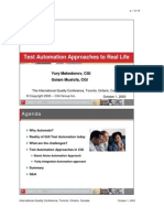 Test Automation Approach to Real Life