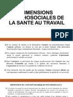DIMENSIONS PSYCHOSOCIALES DE LA SANTE AU TRAVAIL