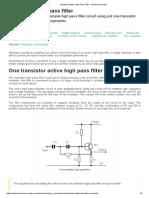 Transistor Active High Pass Filter » Electronics Notes