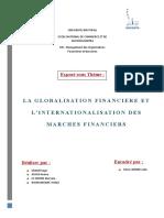 la globalisation financiere et l'internationalisation des marchés