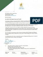 Letter from B.C. Premier John Horgan to NHL commissioner Gary Bettman
