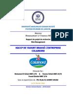 HACCP DE YAOURT BRASSÉ L'ENTREPRISE COLAINORD