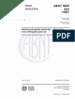 ABNT NBR ISO 14001 Sistemas de gestão ambiental — Requisitos com orientações para uso