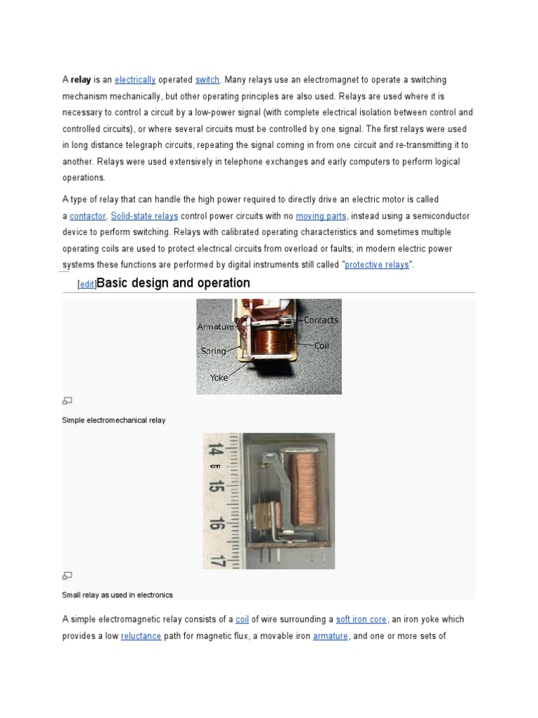 Relay Switch Electrical Use