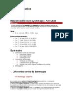 Fiche d'orientation - Responsabilité civile (Dommage)