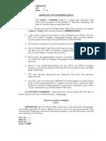 Affidavit of Authorization (Sample)