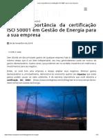 Qual a importância da certificação ISO 50001 para a sua empresa