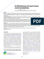 The perceived effectiveness of overt versus covert promotions