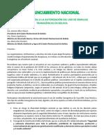 Pronunciamiento Nacional Contra Transgénicos en Bolivia