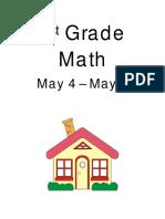 1st grade math packet may 4 - may 8