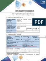 Guía de actividades y rúbrica de evaluación - Fase 1 - Presaberes al Diseño Experimental