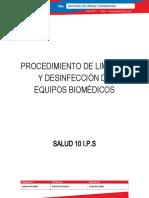 PROTOCOLO LIMPIEZA Y DESINFECCION SALUD 10 IPS