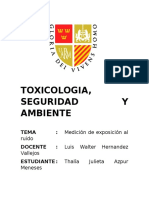 TOXICOLOGIA-Medicion de exposición por ruido