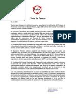 Presidente del CoNEP - Nota de Prensa del TPC