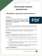 ESPECIFICACIONES TECNICAS DE MI VIVIENDA