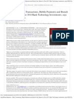 Debit Transactions, Mobile Payments and Branch Item Capture to Drive 2011 Bank Technology Investments, says CONIX Systems, Inc.