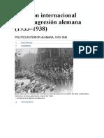 Reacción internacional ante la agresión alemana