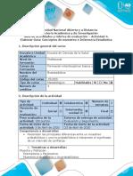 Guía de actividades y rúbrica de evaluación - Actividad 4 - Elaborar guía conceptos de muestreo e inferencia