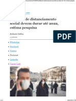 Medidas de distanciamento social devem durar até 2022, estima pesquisa