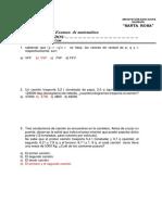 Examen  de matemática tercero