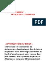 HEMOSTASE PRIMAIRE  2018