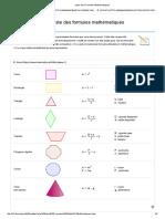 Liste des Formules Mathématiques