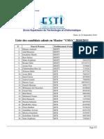 Listes Des Candidats Admis en Master CSSA
