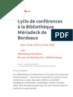 Cycle de conférences à la Bibliothèque Mériadeck de Bordeaux | Inria