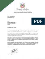 Carta de felicitación del presidente Danilo Medina con motivo del 19 aniversario del periódico Diario Libre