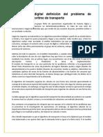 Investigación digital definición del problema de transporte y algoritmo de transporte