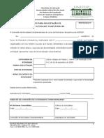 FORMUL¦RIO 01- Validaç¦o de Atividades Complementares (Curso de Farmácia e Bioquímica)
