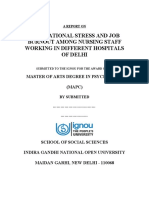 OCCUPATIONAL STRESS AND JOB BURNOUT AMONG NURSING STAFF WORKING IN DIFFERENT HOSPITALS OF DELHI