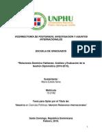 Relaciones domínico haitianas análisis y evaluación de la gestión diplomática (2010-2015)