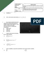 prova de recuperação - MATEMÁTICA 8ºano A e B
