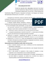 DECLARAÇÃO Voto ORÇAMENTO 2011